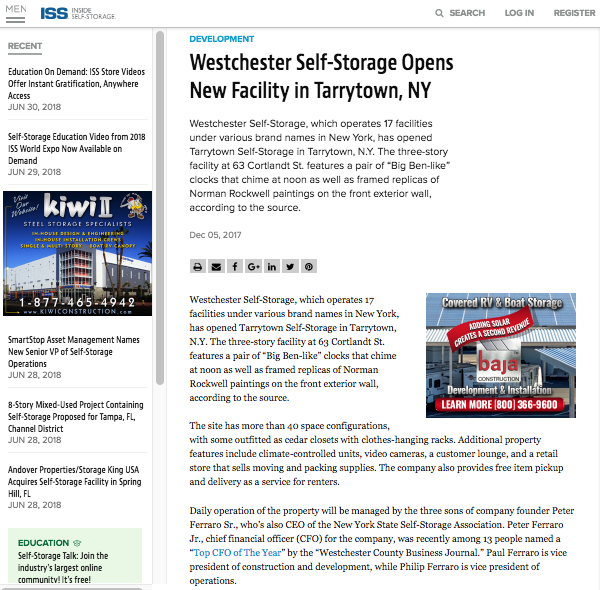 Inside Self Storage press release screen shot of new facility opening in Tarrytown